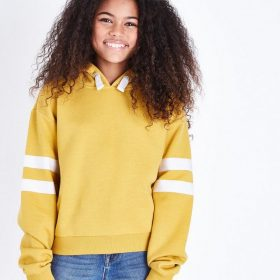 teens-mustard-contrast-stripe-sleeve-hoodie
